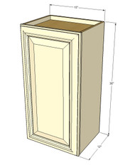 Small Single Door Tuscany White Maple Wall Cabinet - 15 Inch Wide x 30 Inch High