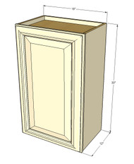 Small Single Door Tuscany White Maple Wall Cabinet - 18 Inch Wide x 30 Inch High