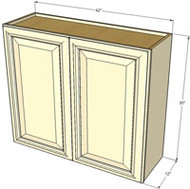 Large Double Door Tuscany White Maple Wall Cabinet - 36 Inch Wide x 30 Inch High