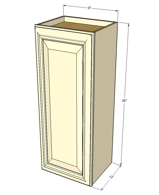 Small single door tuscany white maple wall cabinet 9 for 12 inch door