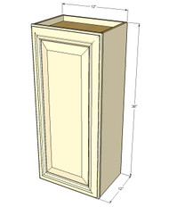 Small Single Door Tuscany White Maple Wall Cabinet - 12 Inch Wide x 36 Inch High
