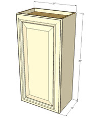 Small Single Door Tuscany White Maple Wall Cabinet - 21 Inch Wide x 36 Inch High