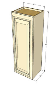 Small Single Door Tuscany White Maple Wall Cabinet - 9 Inch Wide x 42 Inch High
