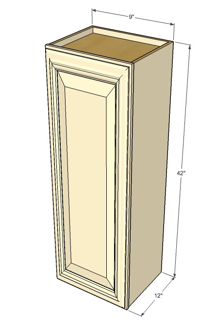 Small Single Door Tuscany White Maple Wall Cabinet 9 Inch Wide X 42 Inch High Kitchen