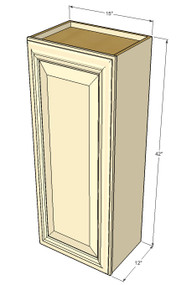 Small Single Door Tuscany White Maple Wall Cabinet - 15 Inch Wide x 42 Inch High