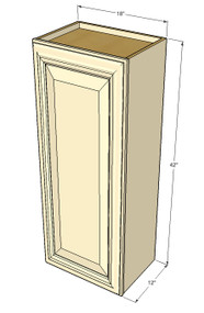 Small Single Door Tuscany White Maple Wall Cabinet - 18 Inch Wide x 42 Inch High