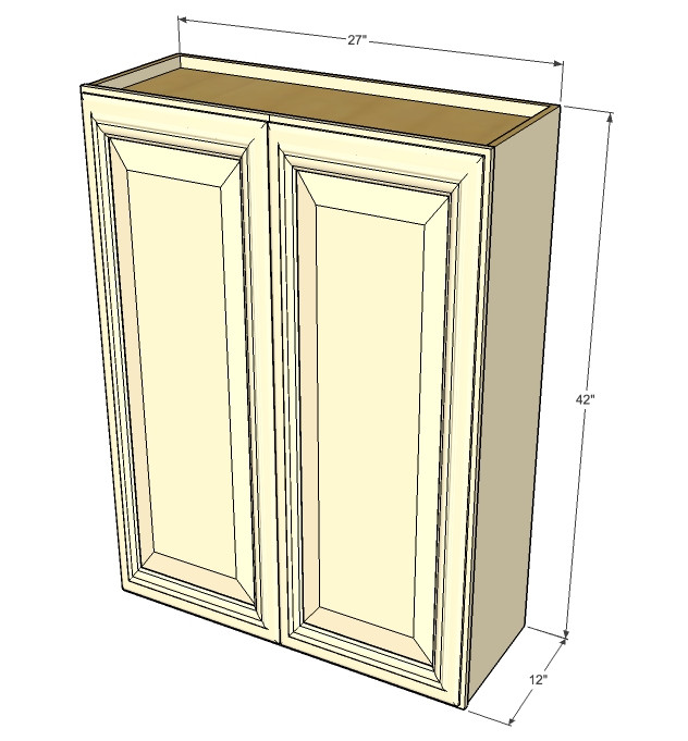 Large double door tuscany white maple wall cabinet 27 for Kitchen cabinets 42 inches high
