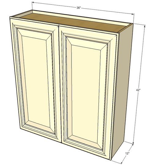 Large double door tuscany white maple wall cabinet 36 for Kitchen cabinets 36 x 42