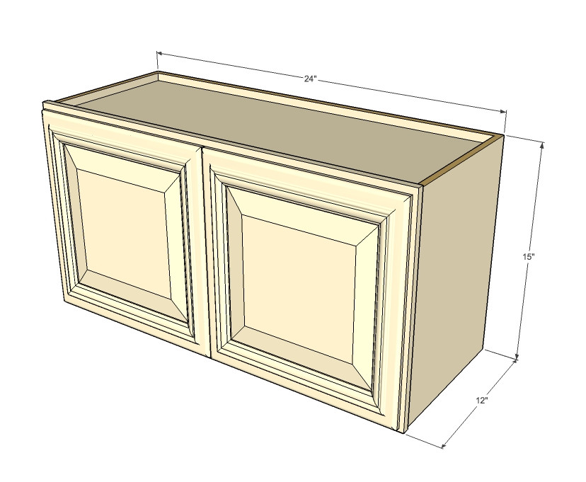 Tuscany white maple horizontal overhead wall cabinet 24 for 15 inch kitchen cabinets