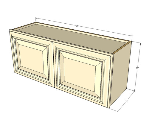 Tuscany white maple horizontal overhead wall cabinet 36 for Kitchen cabinets 36 high