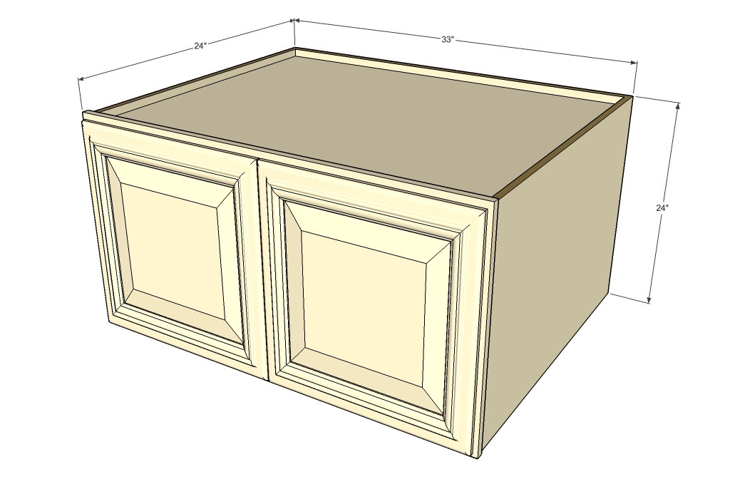 Tuscany white maple horizontal fridge wall cabinet 33 for Kitchen cabinets 24 inches deep