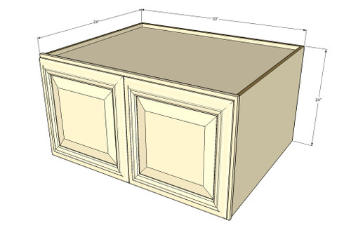 Tuscany white maple horizontal fridge wall cabinet 33 for Kitchen cabinets 14 inches deep
