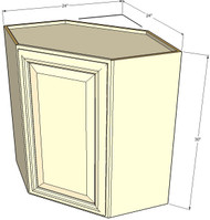 Tuscany White Maple Diagonal Corner Wall Cabinet - 24 Inch Wide x 30 Inch High