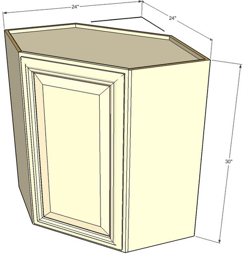 Tuscany white maple diagonal corner wall cabinet 24 inch for Kitchen cabinets 30 x 24