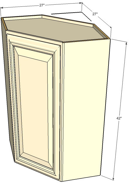 Tuscany white maple diagonal corner cabinet 27 inch wide for Kitchen cabinets 42 inches high