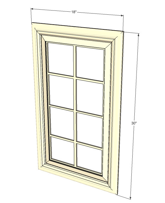 Tuscany white maple mullion glass door 18 inch wide x 30 for Kitchen cabinets 30 x 18
