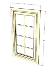 Tuscany White Maple Mullion Glass Door - 18 Inch Wide x 30 Inch High