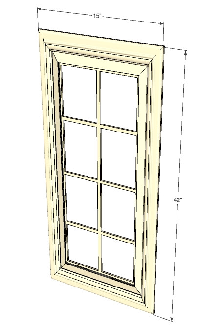 Tuscany white maple mullion glass door 15 inch wide x 42 for Kitchen cabinets 40 inches high
