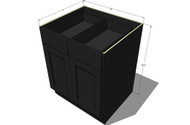 Island Java Shaker Large Base Cabinet with Double Doors & Two Drawers - 36 Inch Width