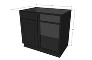 Island Java Shaker Straight Corner Blind Base Cabinet 42 to 45 Inches