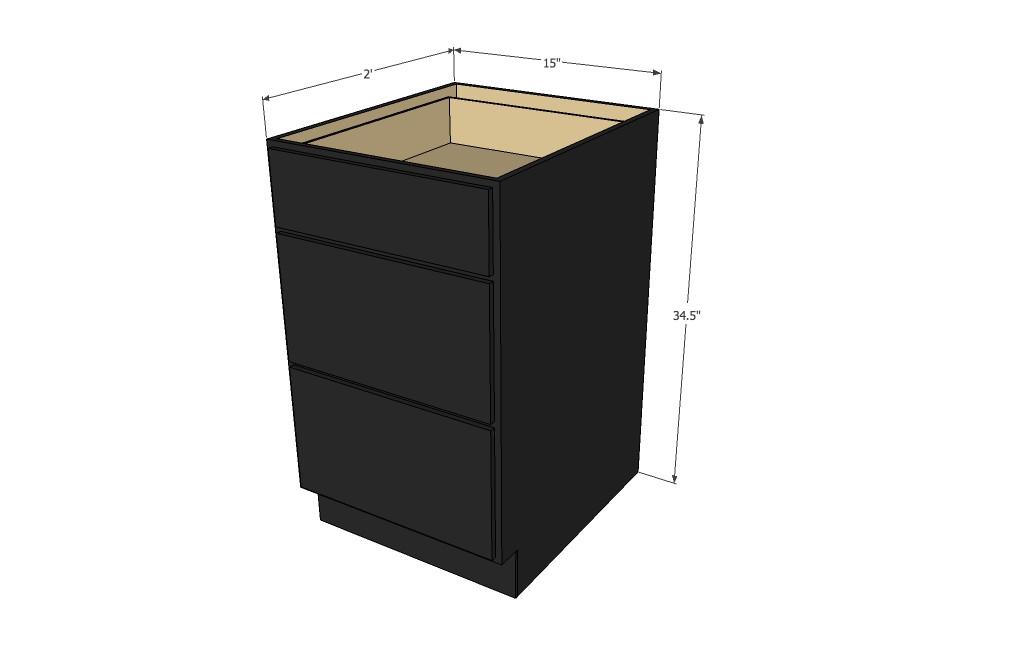 Island java shaker 3 drawer base cabinet 15 inch kitchen for 15 inch kitchen cabinets