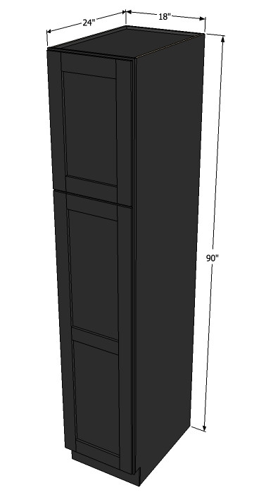 Island java shaker pantry cabinet unit 18 inch wide x 90 for 10 inch kitchen cabinet