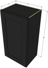 Small Single Door Island Java Shaker Wall Cabinet - 18 Inch Wide x 30 Inch High