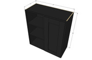 Single Door Straight Corner Island Java Shaker Blind Wall Cabinet - 27 Inch Wide x 30 Inch High