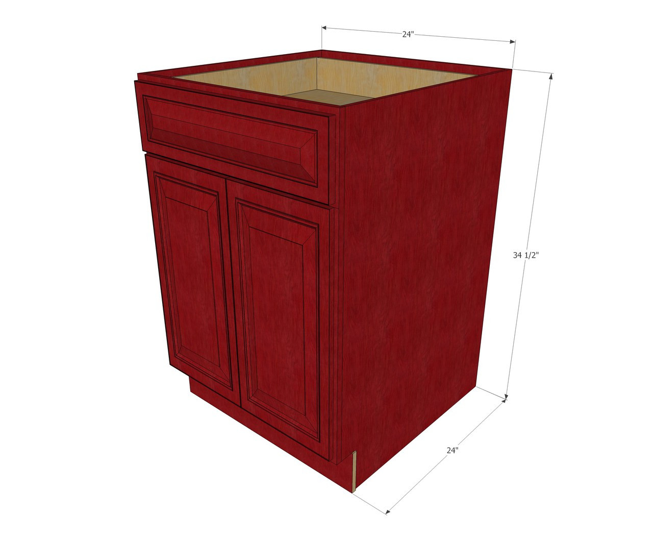 Grand Reserve Cherry Medium Base Cabinet With Double Doors Single Drawer 24 Inch Width