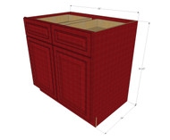 Grand Reserve Cherry Large Base Cabinet with Double Doors & Two Drawers - 33 Inch Width