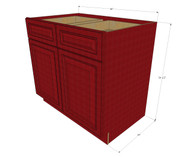 Grand Reserve Cherry Large Base Cabinet with Double Doors & Two Drawers - 36 Inch Width