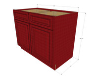 Grand Reserve Cherry Large Base Cabinet with Double Doors & Two Drawers - 42 Inch Width