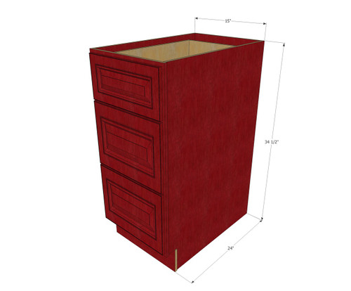 Grand reserve cherry 3 drawer base cabinet 15 inch for 15 inch kitchen cabinets