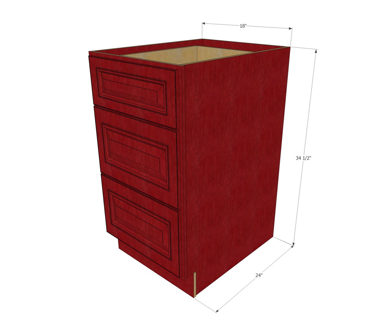 Grand Reserve Cherry 3 Drawer Base Cabinet 18 Inch Kitchen Cabinet Warehouse