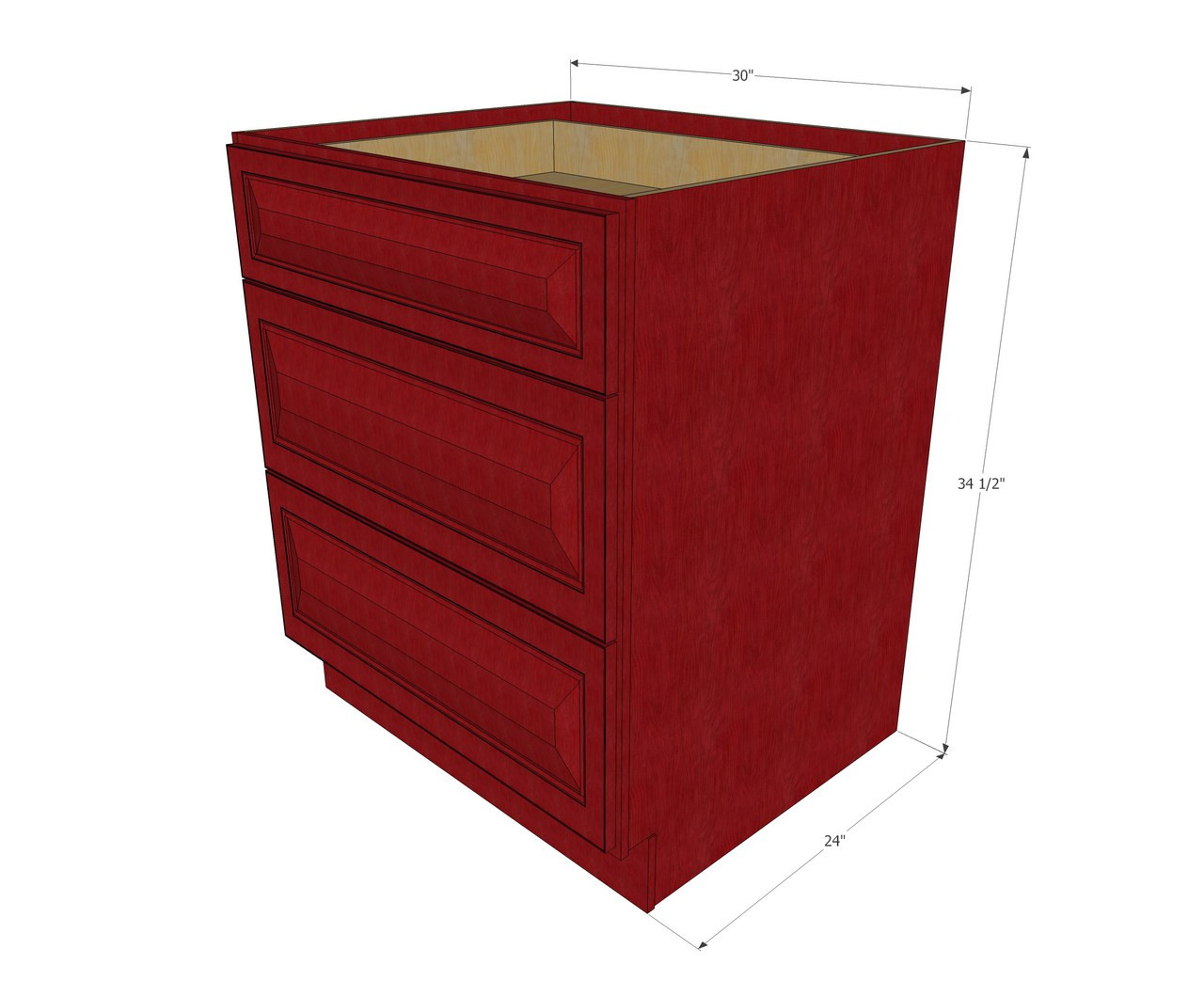Grand Reserve Cherry 3 Drawer Base Cabinet 30 Inch Kitchen Cabinet Warehouse