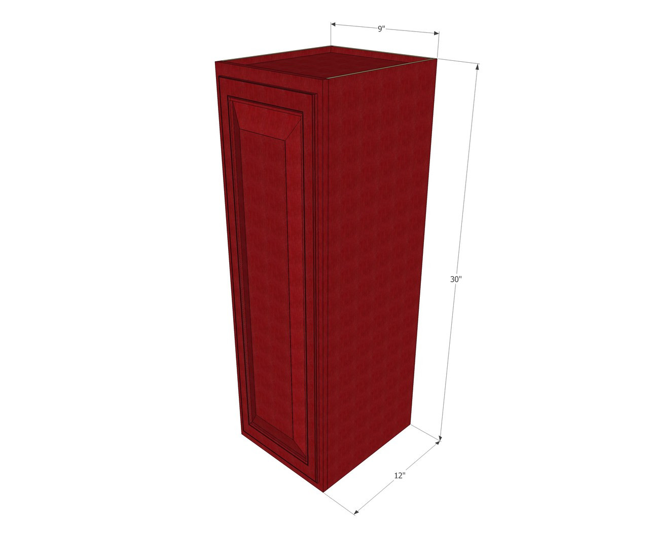 Small Single Door Grand Reserve Cherry Wall Cabinet 9 Inch Wide X 30 Inch High Kitchen