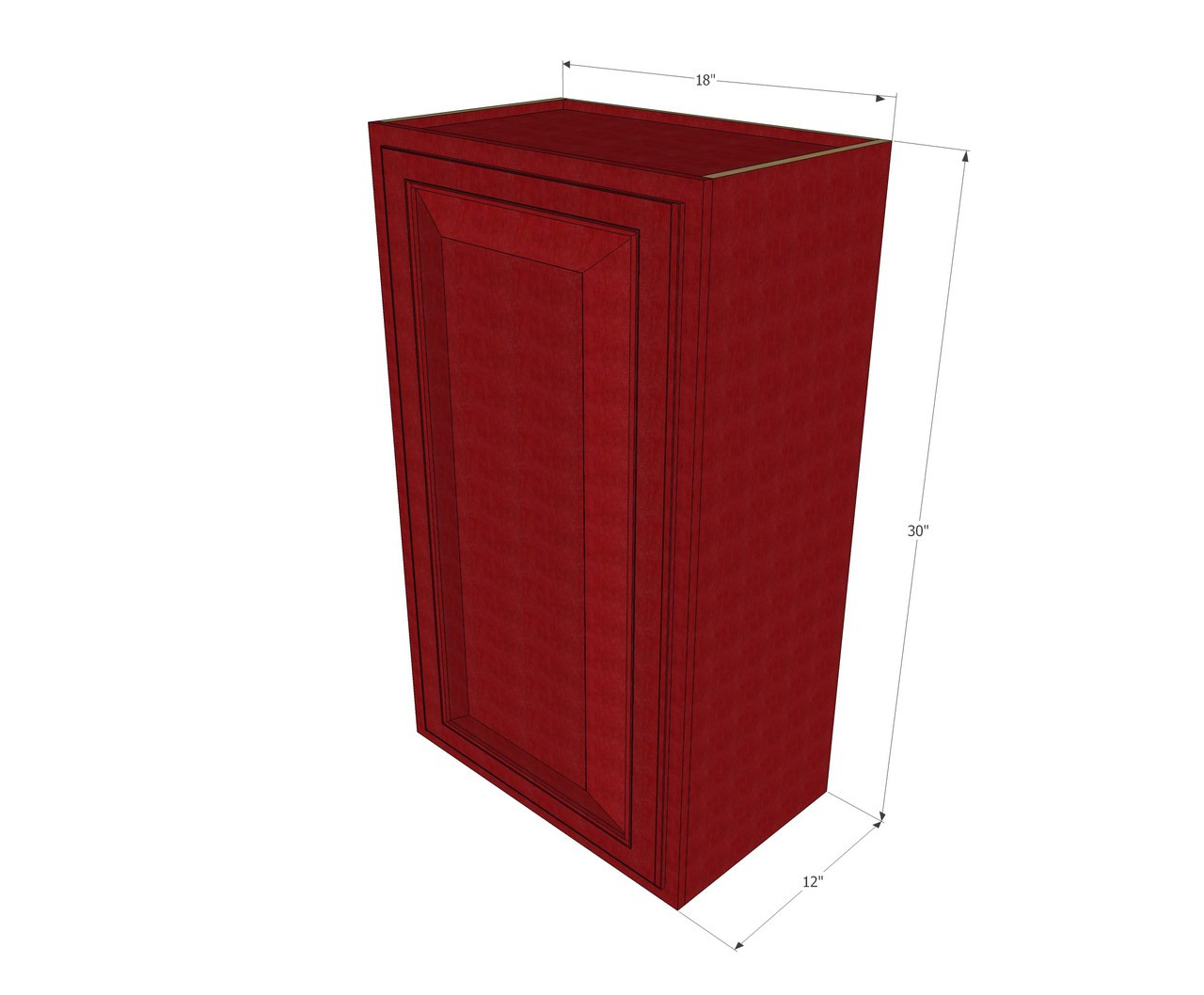 Small single door grand reserve cherry wall cabinet 18 for Kitchen cabinets 30 x 18