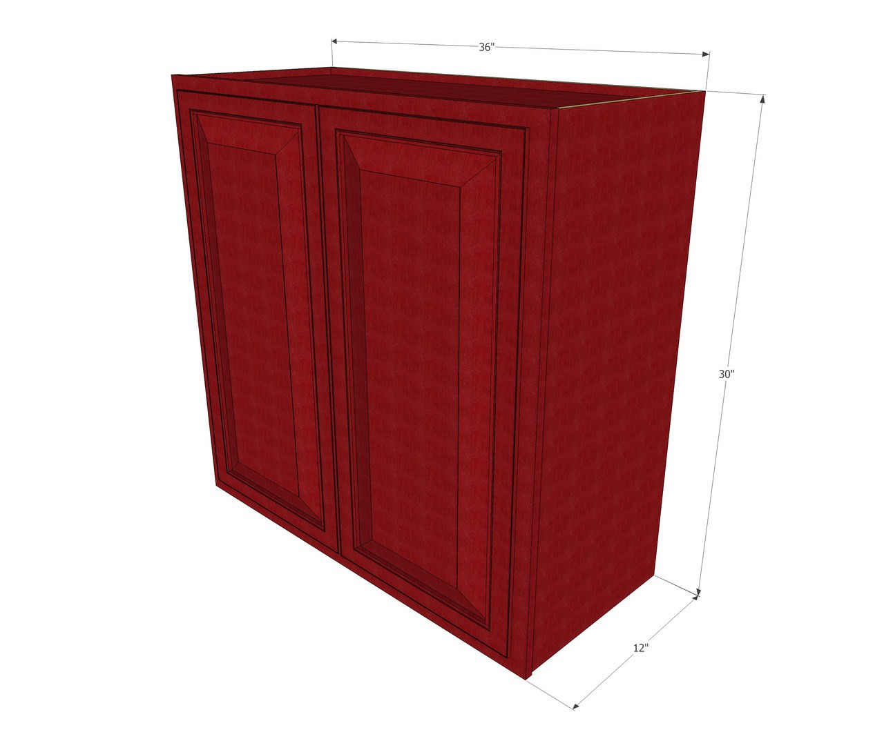 Large double door grand reserve cherry wall cabinet 36 for Kitchen cabinets 36 high