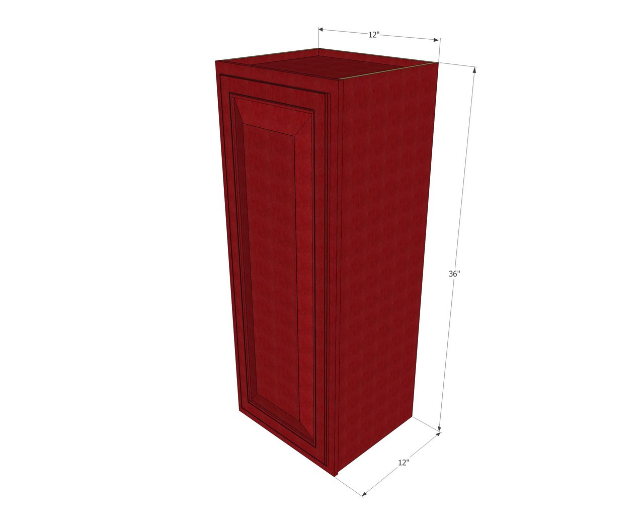 Small single door grand reserve cherry wall cabinet 12 for Kitchen cabinets 36 high