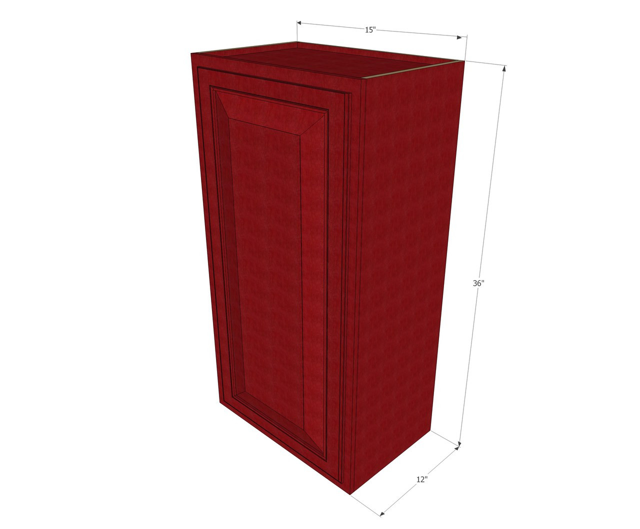 Small Single Door Grand Reserve Cherry Wall Cabinet 15 Inch Wide X 36 Inch High Kitchen