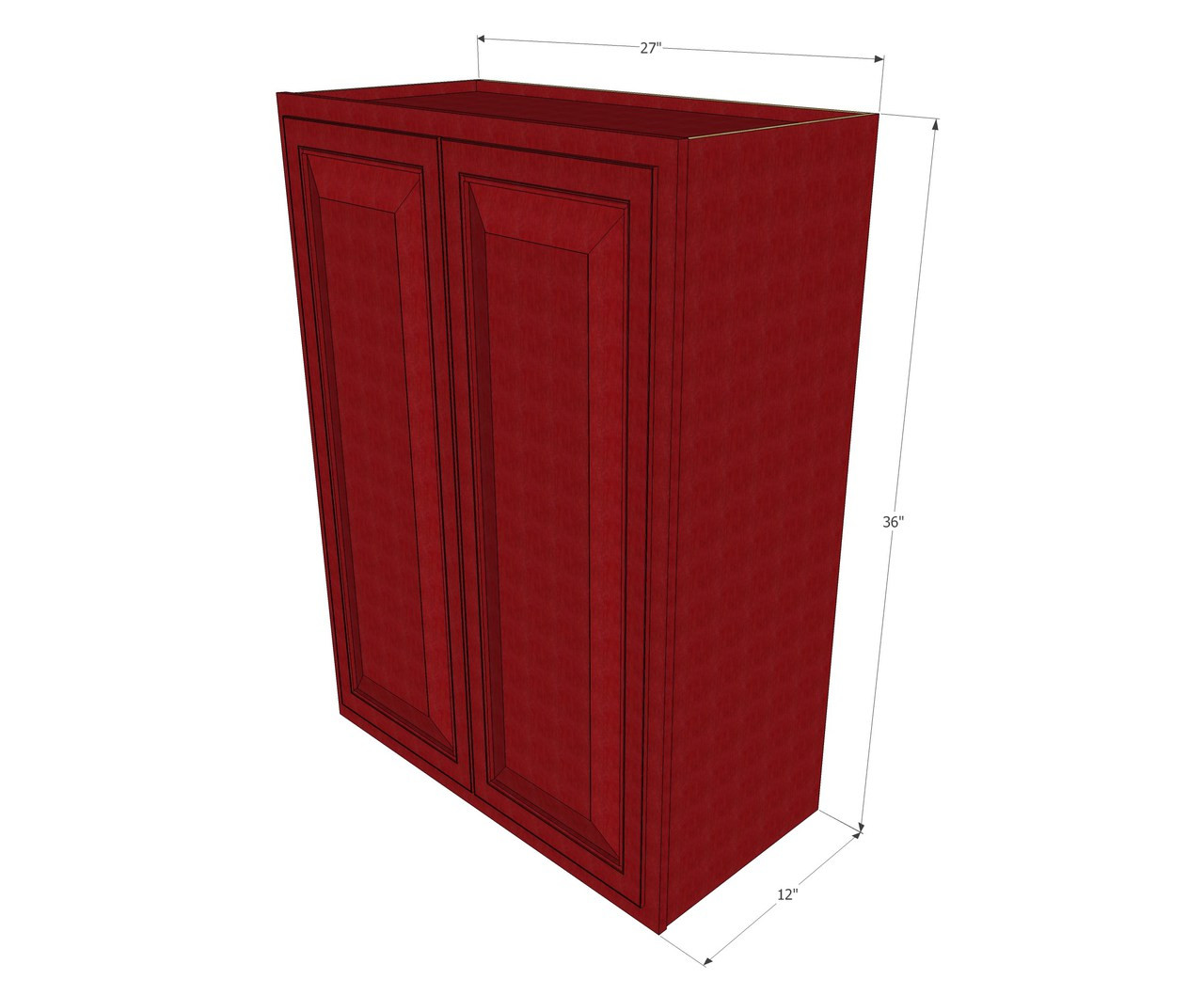 Large Double Door Grand Reserve Cherry Wall Cabinet 27 Inch Wide X 36 Inch High Kitchen