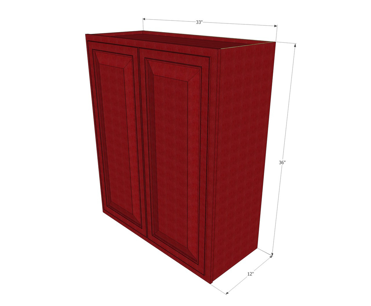 Large double door grand reserve cherry wall cabinet 33 for Kitchen cabinets 36 high