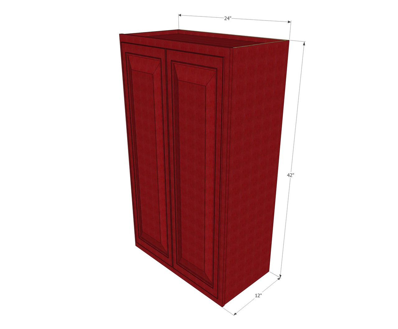 Large double door grand reserve cherry wall cabinet 24 for Kitchen cabinets 42 inches high