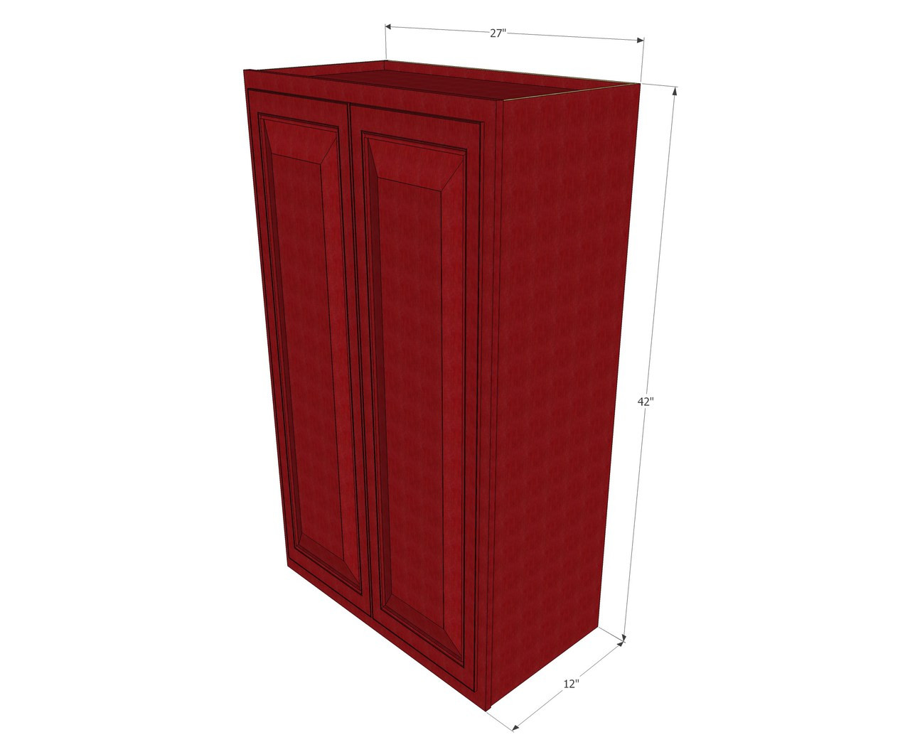 Large Double Door Grand Reserve Cherry Wall Cabinet 27 Inch Wide X 42 Inch High Kitchen