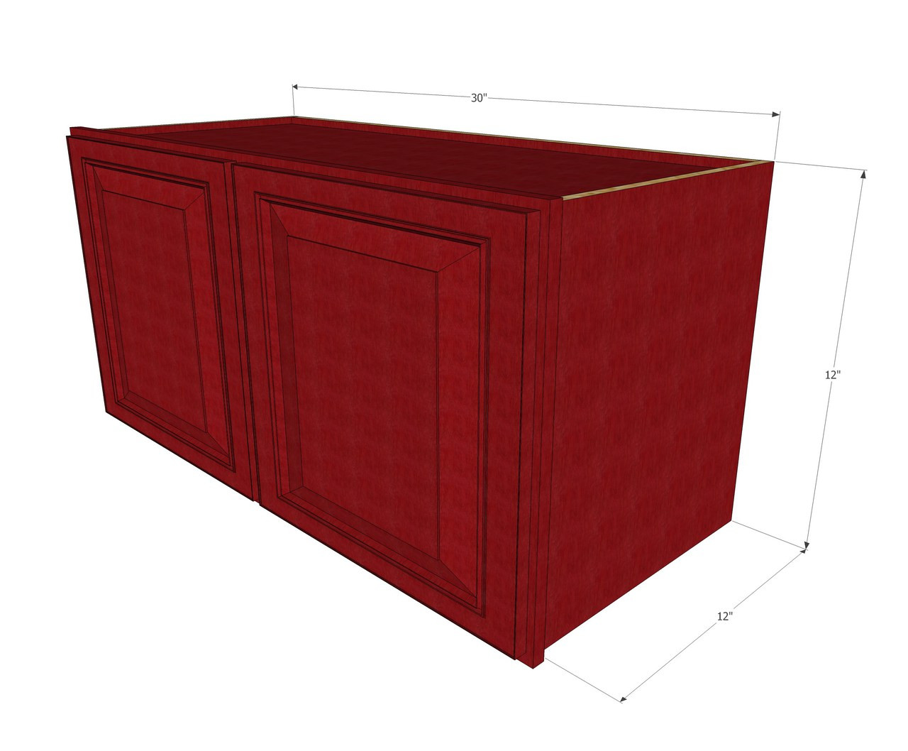 Grand Reserve Cherry Horizontal Overhead Wall Cabinet 30 Inch Wide X 12 Inch High Kitchen