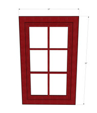 Grand Reserve Cherry Mullion Glass Door - 18 Inch Wide x 30 Inch High