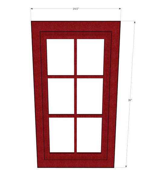 Grand Reserve Cherry Mullion Diagonal Glass Door 24 Inch Wide X 36 Inch High Kitchen Cabinet