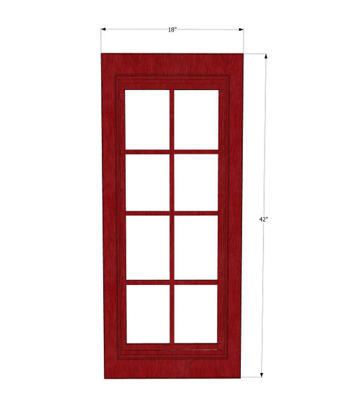 Grand reserve cherry mullion glass door 18 inch wide x for Cherry kitchen cabinets with glass doors