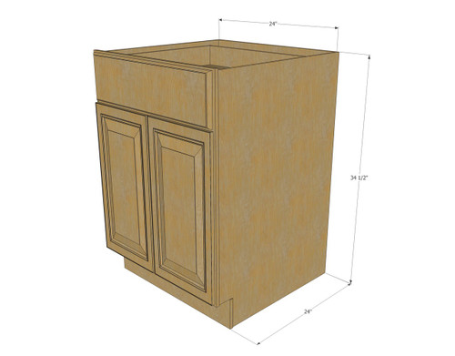 Regal oak medium base cabinet with double doors single - 24 inch kitchen cabinet with drawers ...