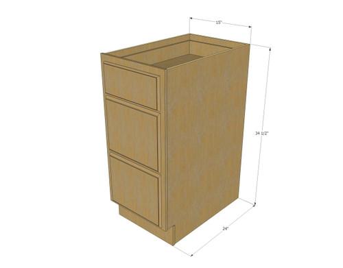Regal oak 3 drawer base cabinet 15 inch kitchen cabinet for 15 inch kitchen cabinets